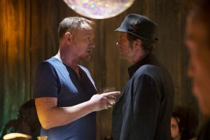 "THE EXPANSE -- ""Windmills"" Episode 107 -- Pictured: (l-r) Jared Harris as Anderson Dawes, Thomas Jane as Detective Josephus Miller -- (Photo by: Rafy/Syfy)"